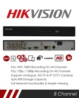 Hikvision 8 Channel TVI, DVR & NVR Tribrid CCTV Recorder with Network and Mobile phone remote viewing