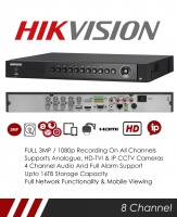 Hikvision DS-7208HUHI-F2/N 3MP 8 Channel TVI, DVR & NVR Tribrid CCTV Recorder with Network and Mobile phone remote viewing