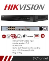 Hikvision DS-7608NI-I2-8P 8ch NVR, Up to 12MP resolution recording, Max 8 IP cameras, 4K HDMI and VGA, 8 port PoE ports
