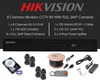 8 Camera Hikvision CCTV Kit With FULL 3MP TVI Anti Vandal 3.6mm fixed Dome Cameras in Graphite