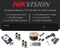 8 Camera Hikvision CCTV Kit With FULL 3MP TVI Anti Vandal 3.6mm fixed Dome Cameras in White