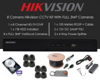 8 Camera Hikvision CCTV Kit With FULL 3MP TVI Anti Vandal 2.8-12mm Varifocal Dome Cameras in Graphite
