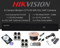 8 Camera Hikvision CCTV Kit With FULL 3MP TVI Anti Vandal 2.8-12mm Varifocal Dome Cameras in White