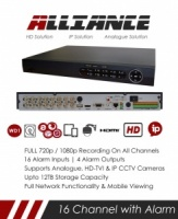 BULK BUY 4 x Alliance Range 16 Channel TVI, DVR & NVR Tribrid CCTV Recorder with Alarm Network and Mobile phone remote viewing