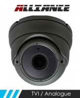 Alliance HD-TVI / Analogue Dome CCTV Camera 30m IR 2.8-12mm Varifocal Lens - Graphite (Quad Output)