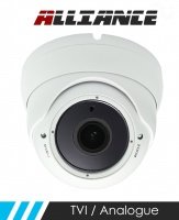 Alliance HD-TVI / Analogue Dome CCTV Camera 30m IR 2.8-12mm Varifocal Lens - White (Quad Output)
