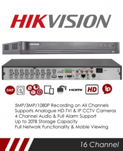Hikvision DS-7216HUHI-K2/P 5MP 16 Channel TVI, DVR & NVR Tribrid CCTV Recorder with Network and Mobile phone remote viewing