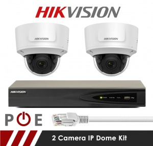 2 Camera Hikvision CCTV Kit With 5MP Anti Vandal Motorized Lens Dome Cameras in White