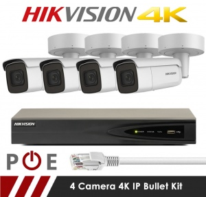 4 Camera Hikvision CCTV Kit With 8MP 4K Motorized Lens Bullet Cameras in White