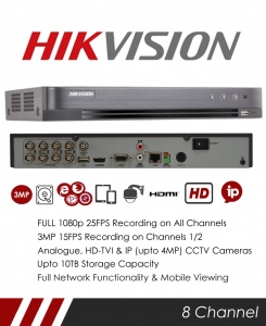 Hikvision DS-7208HQHI-K1 8 Channel TVI, DVR & NVR Tribrid CCTV Recorder with Network and Mobile phone remote viewing