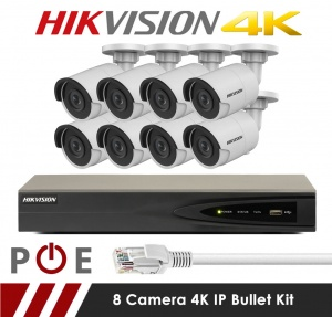 8 Camera Hikvision CCTV Kit With 8MP 4K 2.8mm Fixed Bullet Cameras in White