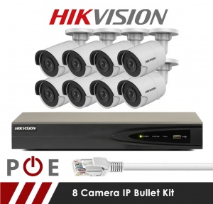 8 Camera Hikvision CCTV Kit With 5MP 2.8mm Fixed Bullet Cameras in White