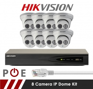 8 Camera Hikvision CCTV Kit With 5MP Anti Vandal 2.8mm Fixed Dome Cameras in White