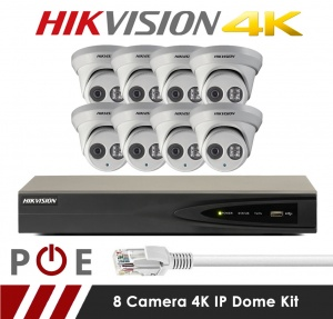 8 Camera Hikvision CCTV Kit With 8MP 4K Anti Vandal 2.8mm Fixed Dome Cameras in White
