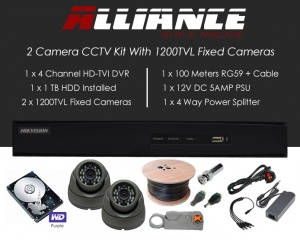 2 Camera Alliance CCTV Kit With 1080p TVI Anti Vandal Fixed Dome Cameras in Graphite