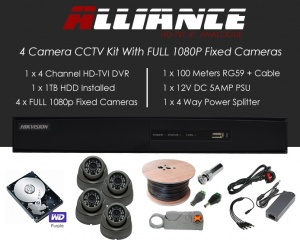 4 Camera Alliance CCTV Kit With 1080p TVI Anti Vandal Fixed Dome Cameras in Graphite