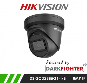 Hikvision DS-2CD2385G1-I/B 8MP Powered by Darkfighter Network IP CCTV Dome Camera 30m IR 2.8mm Fixed Lens - Black