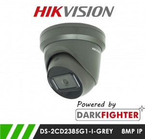 Hikvision DS-2CD2385G1-I 8MP Powered by Darkfighter Network IP CCTV Dome Camera 30m IR 2.8mm Fixed Lens in Grey