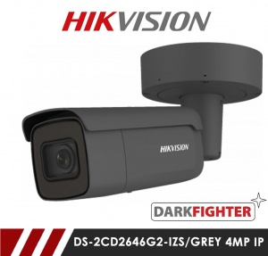 Hikvision AcuSense DS-2CD2646G2-IZS/Grey Darkfighter 4MP Network IP CCTV Bullet Camera 60m IR 2.8-12mm Motorized Lens