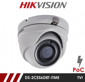 Hikvision 2MP Fixed Lens Dome DS-2CE56D8T-ITME 2.8MM POC HD-TVI CCTV Camera - White