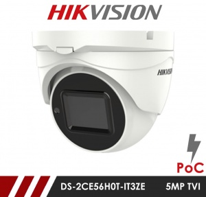 Hikvision 5MP DS-2CE56H0T-IT3ZE 2.7-13.5mm Motorised Varifocal Lens HD-TVI CCTV Camera with POC  - White
