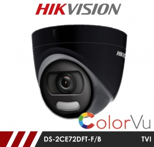 Hikvision 5MP DS-2CE72HFT-F28/B Full time Colour Turret Camera up to 20m White Light Distance in Black