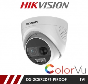 Hikvision 2MP DS-2CE72DFT-PIRXOF Full time Colour Alarm Turret Camera up to 20m White Light Distance