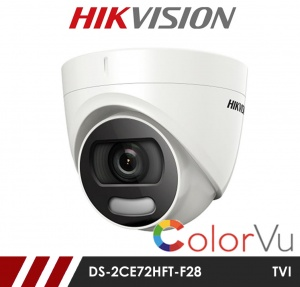 Hikvision 5MP DS-2CE72HFT-F28 Full time Colour Turret Camera up to 20m White Light Distance