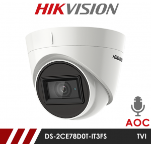 Hikvision 2MP Fixed Lens Dome DS-2CE78D0T-IT3FS 2.8MM AOC Audio over Coax HD-TVI CCTV Camera - White - Built in Mic