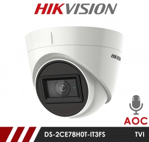 Hikvision 5MP Fixed Lens Dome DS-2CE78H0T-IT3FS 2.8MM AOC Audio over Coax HD-TVI CCTV Camera - White - Built in Mic