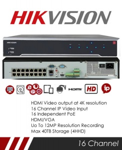 Hikvision DS-7716NI-I4/16P 16CH 12MP NVR NVR CCTV Recorder with 16 POE Ports