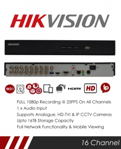 Hikvision DS-7216HQHI-K2 16 Channel TVI, DVR & NVR Tribrid CCTV Recorder with Network and Mobile phone remote viewing