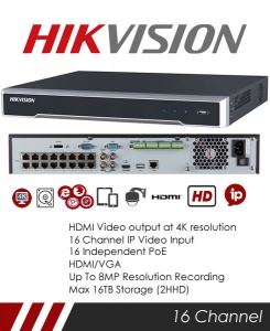 Hikvision DS-7616NI-I2/16P 16CH 8MP NVR CCTV Recorder with 16 POE Ports