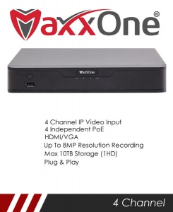 MaxxOne Elite M1P-NX104-A 4 Channel 1 SATA 4 Port PoE NVR