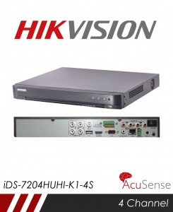 Hikvision AcuSense iDS-7204HUHI-K1-4S 5MP 4 Channel TVI, DVR & NVR Tribrid CCTV Recorder with Network and Mobile phone remote viewing