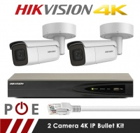 2 Camera Hikvision CCTV Kit With 8MP 4K Motorized Lens Bullet Cameras in White