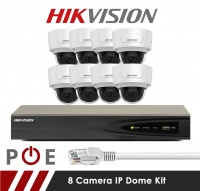 8 Camera Hikvision CCTV Kit With 5MP Anti Vandal Motorized Lens Dome Cameras in White