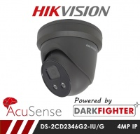 Hikvision Darkfighter AcuSense DS-2CD2346G2-IU/G 4MP Network IP CCTV Dome Camera with Built in Mic 30m IR 2.8mm Fixed Lens