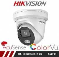 Hikvision AcuSense ColorVu DS-2CD2347G2-LU 4MP Network IP CCTV Dome Camera 2.8mm Fixed Lens Visible Light