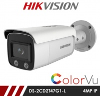 Hikvision ColorVu DS-2CD2T47G1-L 4MP Network IP CCTV Mini Bullet 4mm Fixed Lens Visible Light