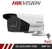 Hikvision 5MP DS-2CE16H0T-IT3ZE  2.7-13.5mm Motorised Lens HD-TVI Bullet CCTV Camera with POC - White