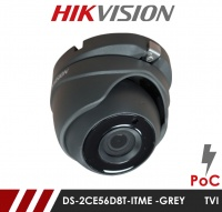 Hikvision 2MP DS-2CE56D8T-ITME 2.8MM Fixed Lens POC HD-TVI CCTV Camera - Grey