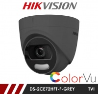 Hikvision 5MP DS-2CE72HFT-F28-GREY Full time Colour Turret Camera up to 20m White Light Distance in Grey