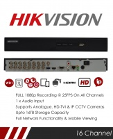 Hikvision DS-7216HQHI-K2/P 16 Channel TVI POC DVR & NVR Tribrid CCTV Recorder with Network and Mobile phone remote viewing