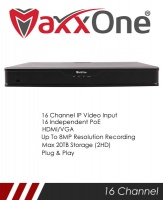 MaxxOne Elite M1P-NX216-A 16 Channel 2 SATA 16 Port PoE NVR