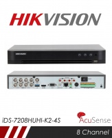Hikvision iDS-7208HUHI-K1-4S Accusense 5MP 8 Channel TVI, DVR & NVR Tribrid CCTV Recorder with Network and Mobile phone remote viewing